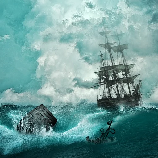 Stormy seas, tossed in the waves